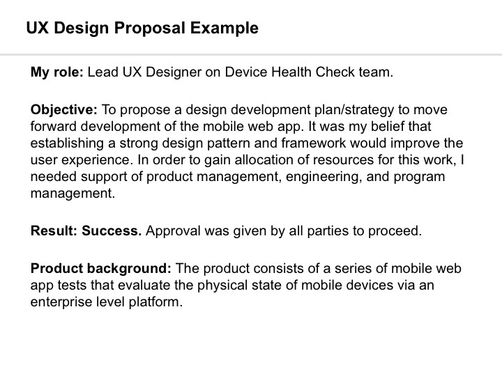 ux design proposal example ivatakesthecake - Proposal Example